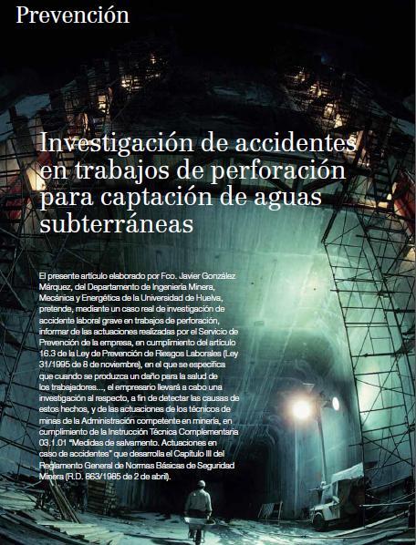 INVESTIGACIÓN de ACCIDENTES en TRABAJOS de PERFORACIÓN para CAPTACIÓN de AGUAS SUBTERRÁNEAS