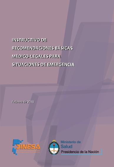 RECOMENDACIONES BÁSICAS MÉDICO-LEGALES para SITUACIONES de EMERGENCIA