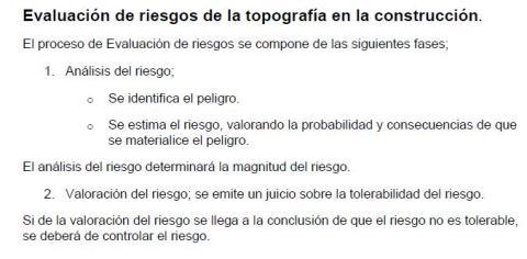 EVALUACIÓN de RIESGOS de la TOPOGRAFÍA en la CONSTRUCCIÓN