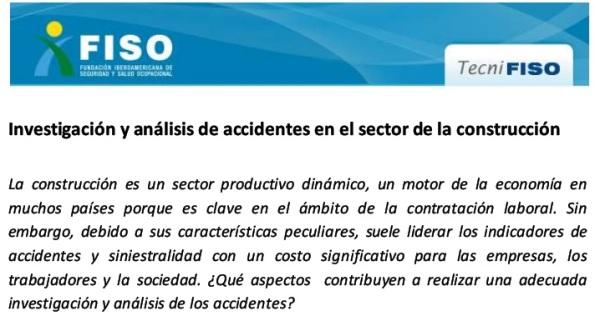 INVESTIGACIÓN Y ANÁLISIS DE ACCIDENTES EN EL SECTOR DE LA CONSTRUCCIÓN