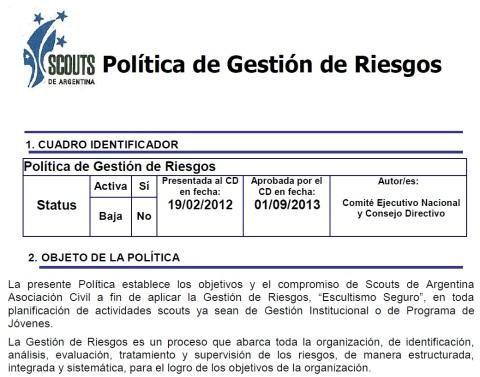 POLÍTICA DE GESTIÓN DE RIESGOS