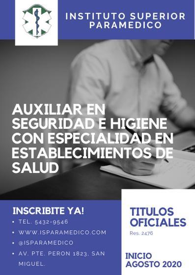 AUXILIAR DE SEGURIDAD E HIGIENE EN ESTABLECIMIENTOS DE SALUD